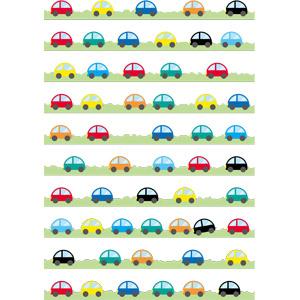 フリーイラスト, ベクター画像, AI, 飾り罫線(ライン), 乗り物, 自動車, 渋滞