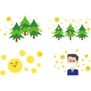 フリーイラスト, ベクター画像, AI, 樹木, 杉(スギ), 花粉, 花粉症, 男性, 衛生マスク