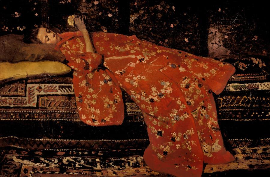 フリー絵画 ヘオルヘ・ヘンドリック・ブレイトネル作「赤い着物」