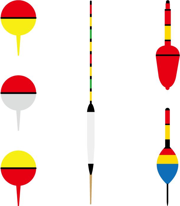 フリーイラスト 6種類の釣り用の浮きのセット