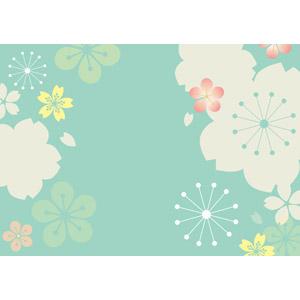フリーイラスト, ベクター画像, AI, 背景, 和柄, 花柄, 桜(サクラ), 春