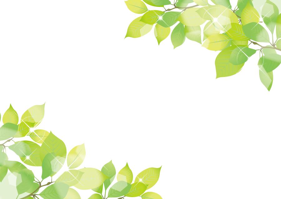 フリーイラスト 新緑の葉っぱのフレーム