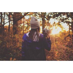 フリー写真, 人物, 女性, 後ろ姿, ニット帽, カメラ, 一眼レフカメラ, 人と風景, 森林, 夕暮れ(夕方), 夕日