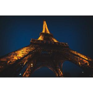 フリー写真, 風景, 建造物, 建築物, 塔(タワー), エッフェル塔, 夜, 夜景, フランスの風景, パリ