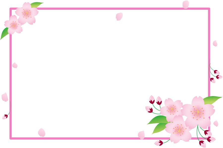 フリーイラスト さくらの花とつぼみの飾り枠