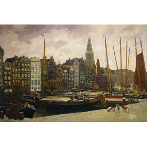 フリー絵画, 風景画, 建造物, 建築物, 街並み(町並み), 運河, ヨットハーバー(マリーナ), 船, オランダの風景, アムステルダム