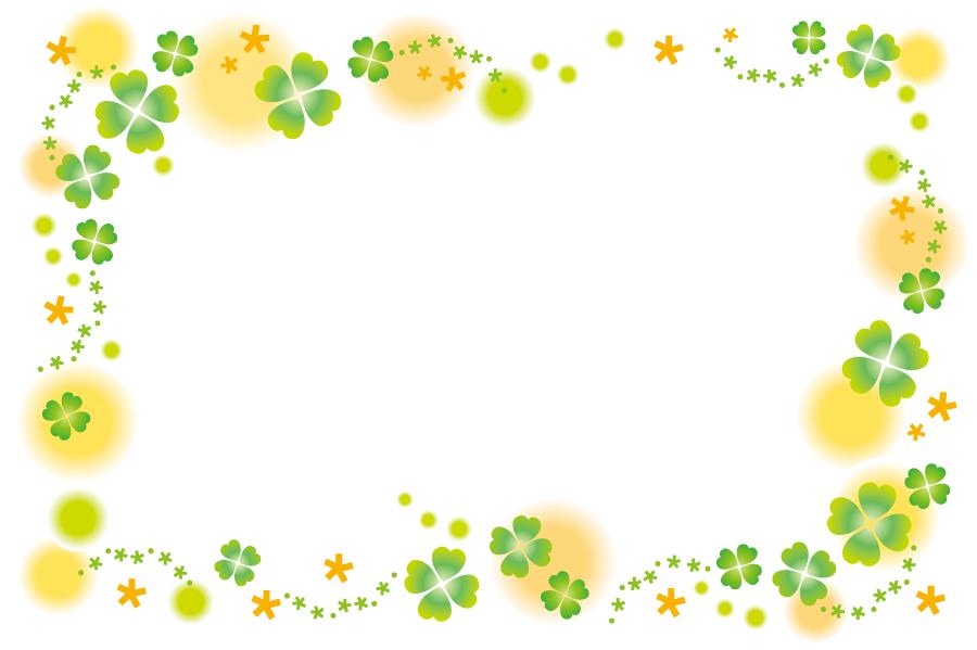 フリーイラスト 四つ葉のクローバーの飾り枠