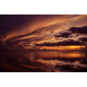フリー写真, 風景, 自然, 夕暮れ(夕方), 夕焼け, 海, 雲, モーリシャスの風景