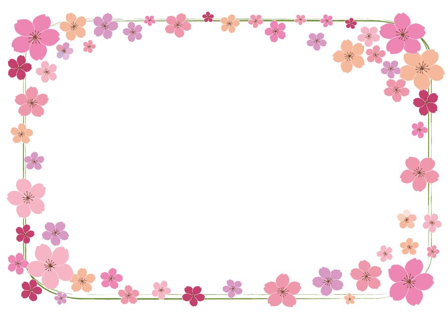 フリーイラスト さくらの花の囲みフレーム