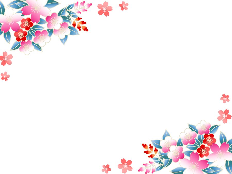 フリーイラスト 桜と梅の花の和柄のフレーム