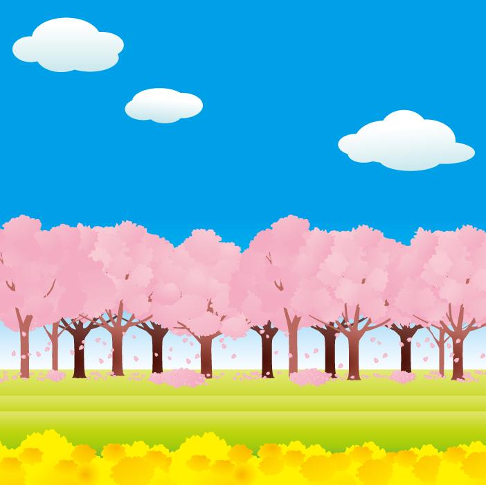 フリーイラスト 菜の花畑と満開の桜並木の風景