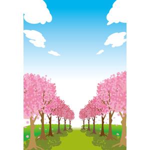 フリーイラスト, ベクター画像, AI, 風景, 自然, 樹木, 桜(サクラ), 青空, 春, 桜吹雪