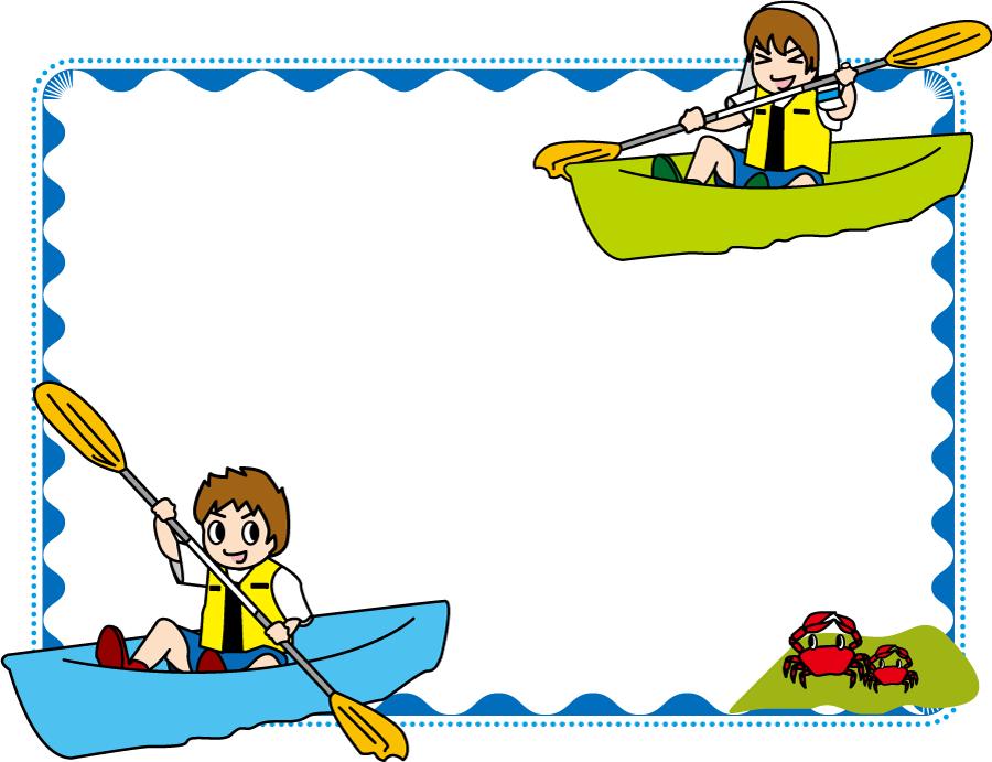 フリーイラスト カヌーに乗る二人の男性の飾り枠