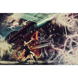 フリー写真, フォトレタッチ, 乗り物, 列車(鉄道車両), 蒸気機関車, 魔女, 人と乗り物
