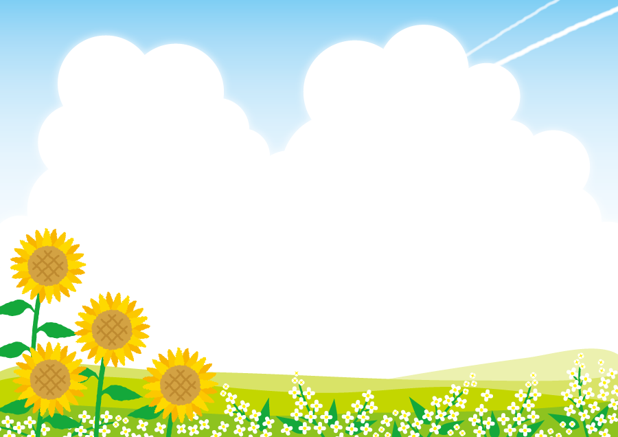 フリーイラスト ひまわりの花と入道雲と飛行機雲の風景