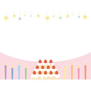 フリーイラスト, ベクター画像, EPS, 背景, フレーム, 上下フレーム, 誕生日(バースデー), バースデーケーキ, ろうそく(ロウソク), 飾り(装飾)