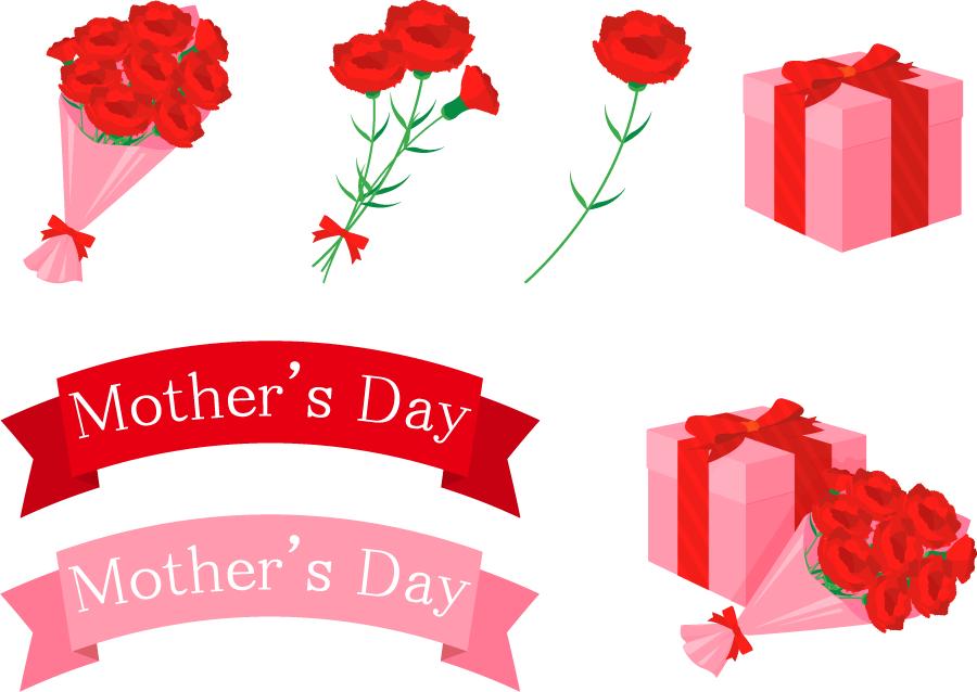フリーイラスト カーネーションとプレゼントの母の日のセット