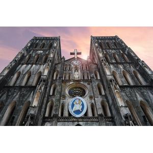 フリー写真, 風景, 建造物, 建築物, 教会(聖堂), ベトナムの風景, ハノイ, 夕暮れ(夕方)