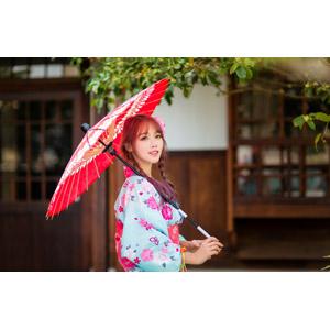 フリー写真, 人物, 女性, アジア人女性, 中国人, 女性(00173), 和服, 浴衣, 日傘, 三つ編み, ツインテール