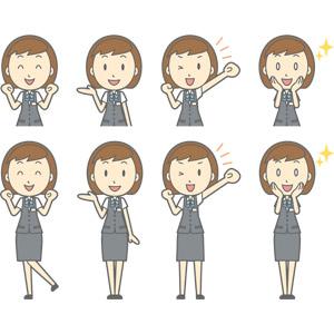 フリーイラスト, ベクター画像, AI, 人物, 女性, 女性(00150), ビジネス, OL(オフィスレディ), 職業, 仕事, 事務服, 案内する, 応援する, ガッツポーズ, 目を輝かせる