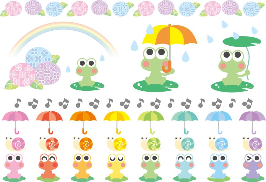 フリーイラスト アジサイやカエルなどの梅雨のセット
