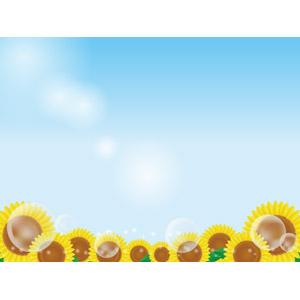 フリーイラスト, ベクター画像, AI, 背景, 植物, 花, 向日葵(ヒマワリ), 青空, 夏, しゃぼん玉(シャボン玉)