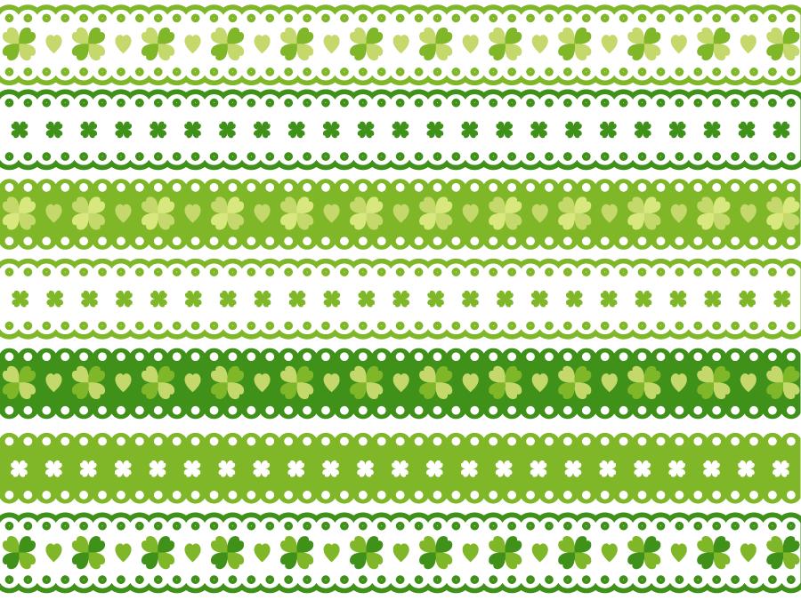 フリーイラスト 7種類のクローバーのレース飾りの罫線のセット