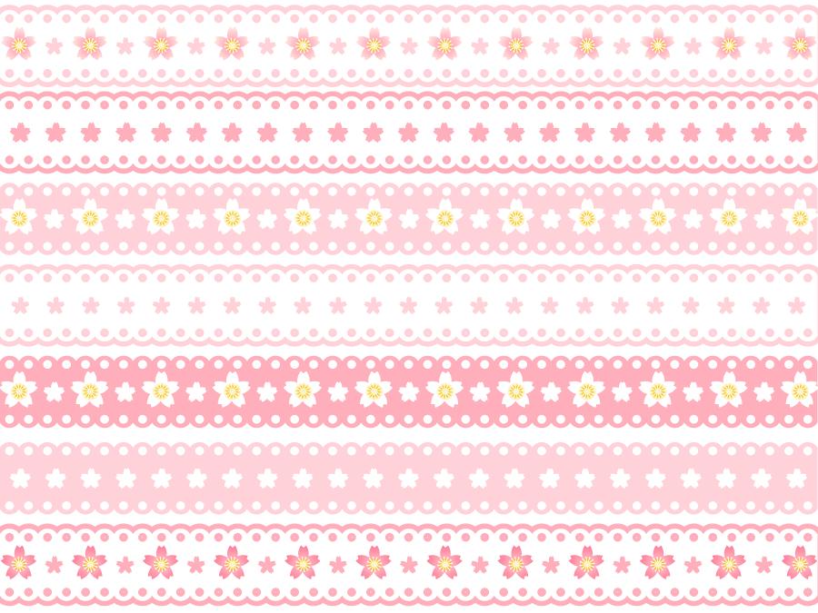 フリーイラスト 7種類の桜の花のレース飾りの罫線のセット