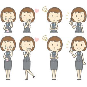フリーイラスト, ベクター画像, AI, 人物, 女性, 女性(00150), ビジネス, OL(オフィスレディ), 職業, 仕事, 事務服, 泣く(泣き顔), 愛(ラブ), 困る, アドバイス, 指差す, 上を指す, 頬に手を当てる