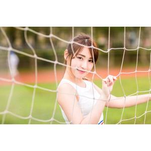 フリー写真, 人物, 女性, アジア人女性, 陳樂樂(00176), 中国人, タンクトップ, スポーツ, 運動, 網(ネット)
