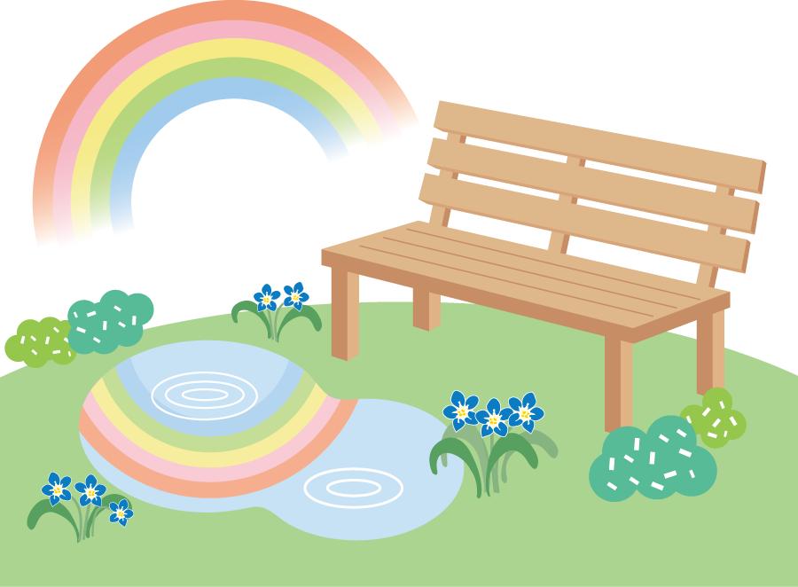 フリーイラスト 雨上がりの虹とベンチ