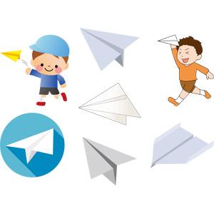 フリーイラスト, ベクター画像, AI, 折り紙, 紙飛行機, 人物, 子供, 男の子, 子供の遊び