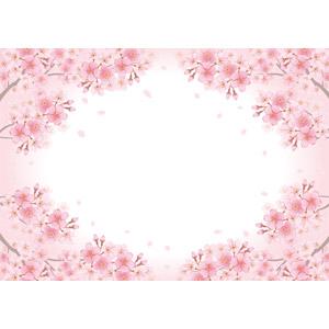 フリーイラスト, ベクター画像, AI, 背景, フレーム, 円形フレーム, 植物, 花, 桜(サクラ), ピンク色の花, 春, 蕾(つぼみ), 花びら, 桜吹雪