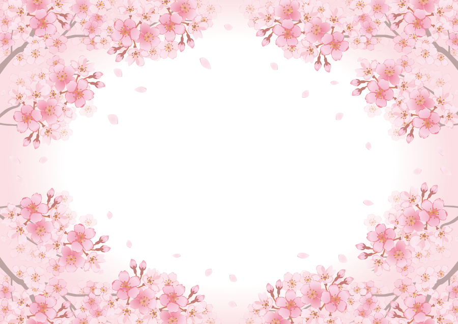 フリーイラスト ピンク色のさくらの花の飾り枠