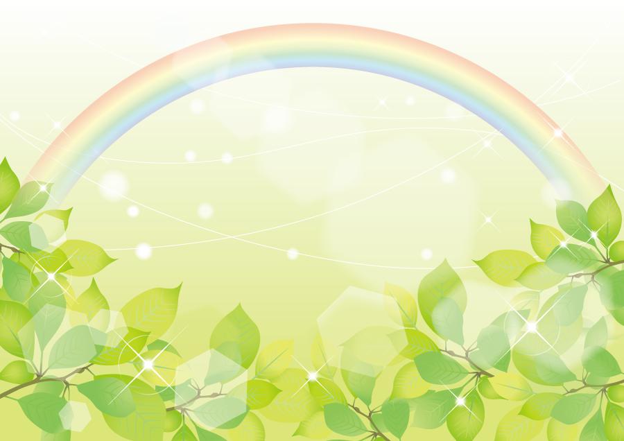 フリーイラスト 緑色の葉っぱと虹の背景