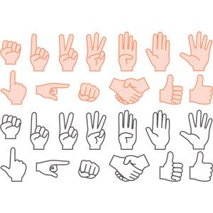 フリーイラスト, ベクター画像, AI, 人体, 手, ジャンケン, 指差す, 握手, サムズアップ, いいね(グッド), 上を指す, 右を指す, 殴る(パンチ), 1(一), 2(二), 3(三), 4(四), 5(五), ラインアート, ピースサイン(Vサイン)