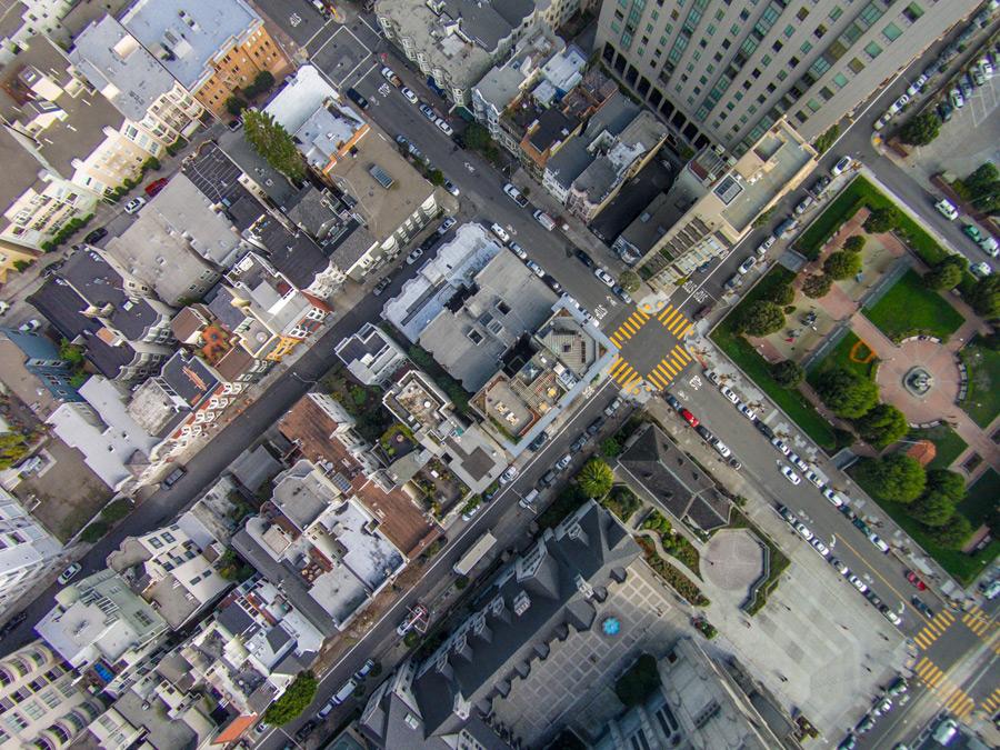 フリー写真 上から見下ろすサンフランシスコの街並み
