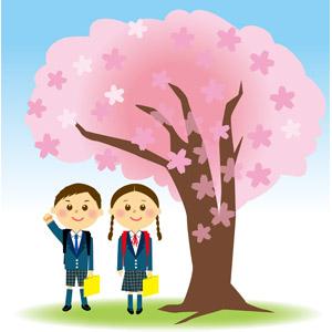 フリーイラスト, ベクター画像, EPS, 学校, 小学生, 人物, 子供, 女の子, 男の子, 学生服, 入学式, 4月, 桜(サクラ), 春, 樹木, 二人