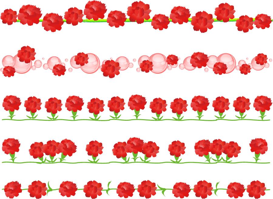 フリーイラスト 5種類のカーネーションのラインのセット