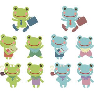 フリーイラスト, ベクター画像, AI, 動物, 両生類, 蛙(カエル), 家族(動物), 親子(動物), パイプ(たばこ)