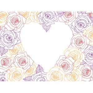 フリーイラスト, ベクター画像, EPS, 背景, フレーム, ハートフレーム, ハート, 花, 薔薇(バラ), ラインアート
