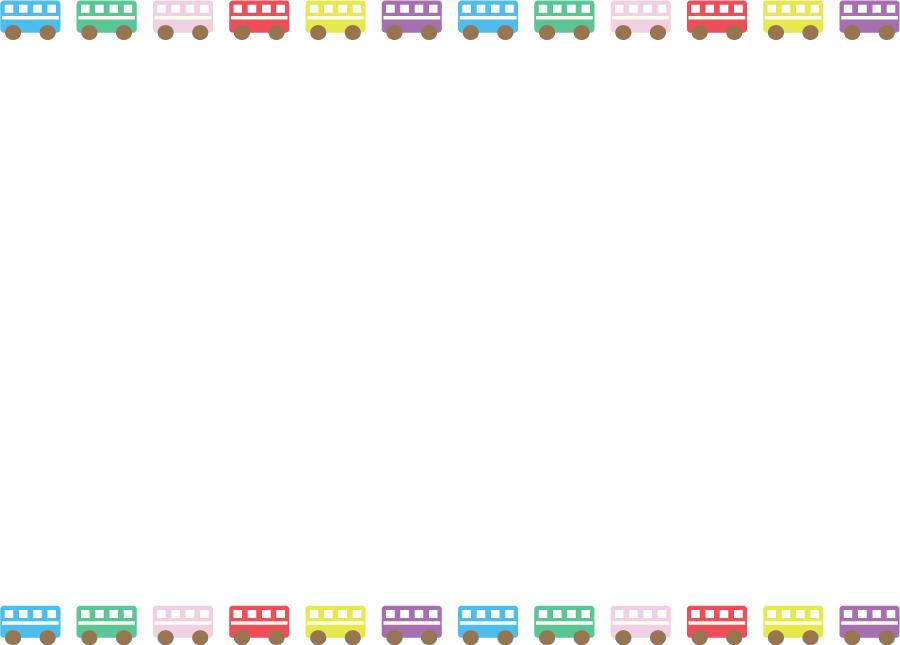 フリーイラスト カラフルなバスの飾り枠