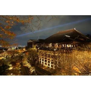 フリー写真, 風景, 建造物, 建築物, 寺院, お寺(仏閣), 清水寺, 夜, 夜景, 日本の風景, 京都府