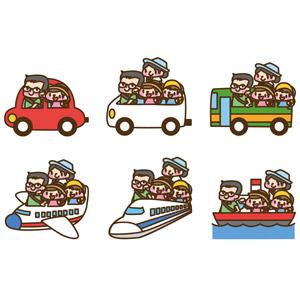フリーイラスト, ベクター画像, AI, 人物, 家族, 親子, 父親(お父さん), 母親(お母さん), 子供, 旅行(トラベル), 乗り物, 人と乗り物, 自動車, バス, 飛行機, 旅客機, 新幹線, 船, ゴールデンウィーク, 電車