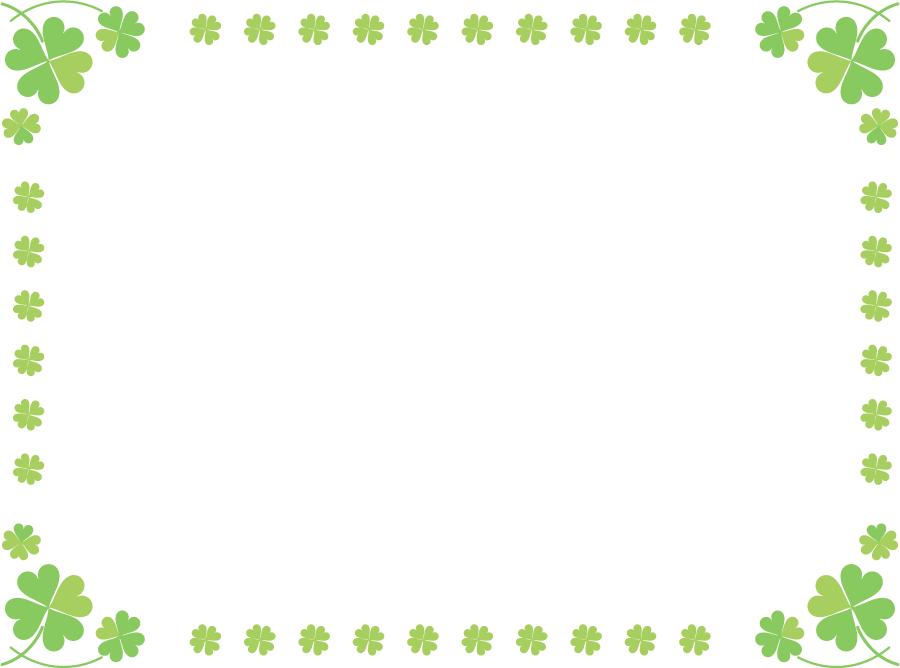 フリーイラスト 四つ葉のクローバーの囲みフレーム
