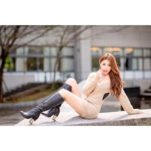 フリー写真, 人物, 女性, アジア人女性, 女性(00178), ブーツ, ワンピース