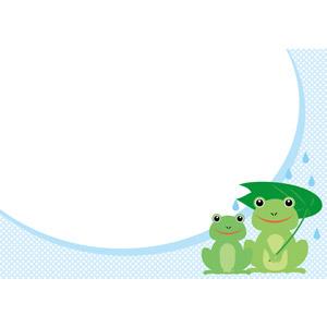 フリーイラスト, ベクター画像, EPS, 背景, メッセージカード, 動物, 両生類, 蛙(カエル), 雨, 梅雨, 6月