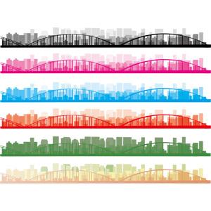 フリーイラスト, ベクター画像, AI, 飾り罫線(ライン), 高層ビル, 都市, 街並み(町並み), 橋, シルエット(街)