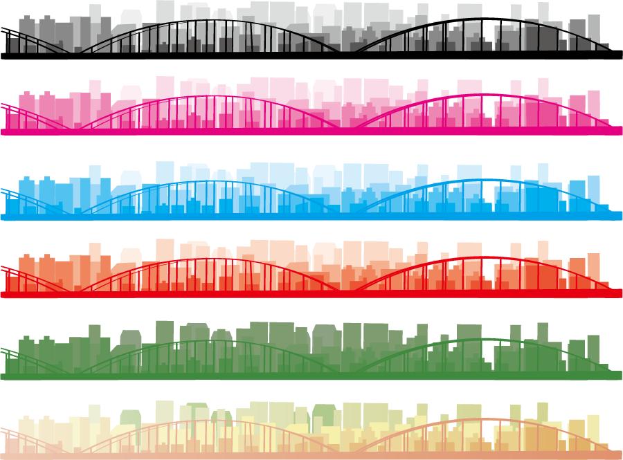 フリーイラスト 6色の橋と都市の街並みのライン
