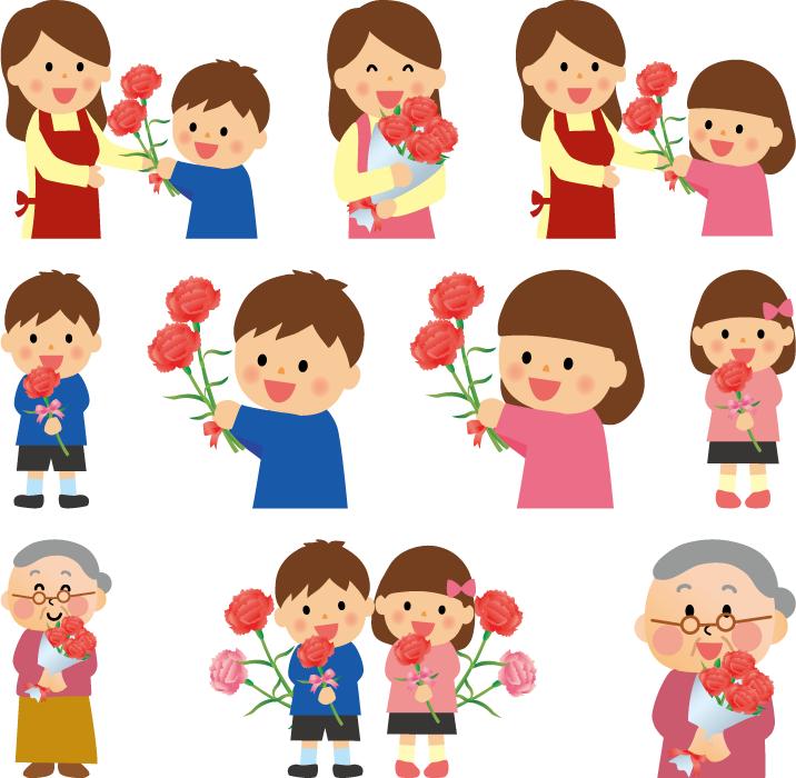 フリーイラスト 10種類のカーネーションをプレゼントする母の日のセット